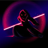 Fantastische held met licht zwaard Stock Foto