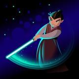 Fantastische held met licht zwaard Stock Afbeeldingen