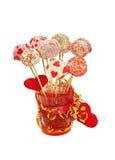 Fantastische Kuchenknalle verziert für Valentinstag Lizenzfreie Stockfotografie