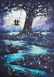 Fantastische Landschaft, Kerl und Mädchen des Ölgemäldes fahren auf Schwingen, großen dunklen Baum, Berge im Hintergrund Lizenzfreie Stockfotografie