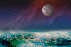 Fantastische Landschaft kosmos necropolis Roter Satelitte lizenzfreie abbildung