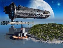 Fantastische Landschaft und Raumfahrzeug stock abbildung