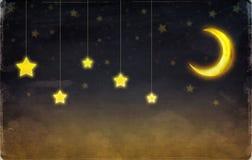 Fantastische maan en sterren stock illustratie