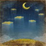 Fantastische maan en sterren op de kabel Stock Foto's