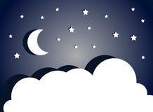 Fantastische nachthemel met maan, sterren en wolken Vector cloudscape royalty-vrije illustratie