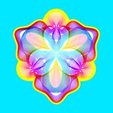 Fantastische neonbloem, abstracte vorm met veel het mengen van lijnen royalty-vrije stock afbeelding