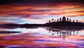 Fantastische oosterse tempel over water stock foto's