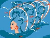 Fantastische overzeese meisje of vrouw mermaid Vector stock illustratie