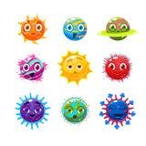 Fantastische planeten met gezichten en emoties De voorwerpen kunnen voor computerspelen worden gebruikt vector illustratie
