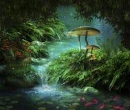 Fantastische rivier en vijver Stock Afbeeldingen