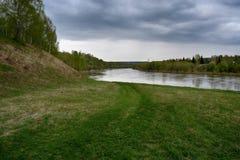Fantastische rivier met vers groen gras in het zonlicht Royalty-vrije Stock Fotografie