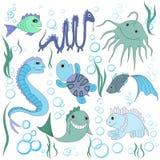 Fantastische Seetiere, Luftblasen und Algen Lizenzfreie Abbildung