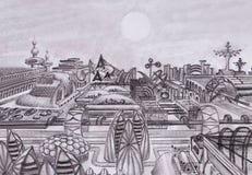 Fantastische Stadt der Zukunft Auf einem ausländischen Planeten vektor abbildung