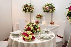 Fantastische Tabelle eingestellt für eine Hochzeit Lizenzfreies Stockbild