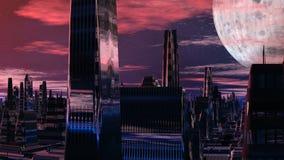 Fantastische (vreemde) stad en reusachtige planeet stock illustratie