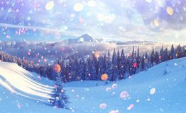 Fantastische Winterlandschaft stockfotos