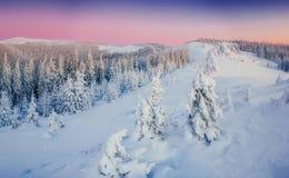 Fantastische Winterlandschaft in den Bergen Magischer Sonnenuntergang in a Lizenzfreies Stockbild