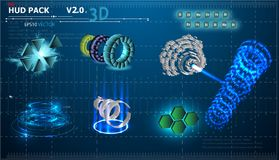 Fantastischer abstrakter Hintergrund mit verschiedenen Elementen des Satzes 3d HUDs Großer Satz verschiedene HUD-Elemente Diagram lizenzfreie abbildung
