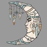 Fantastischer Halbmond mit einem menschlichen Gesicht Ethnischer Schmuck und Perlen, indische Motive stock abbildung