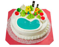 Fantastischer Kuchen mit Zuckerkarikatur Stockfotografie