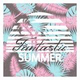 Fantastischer Sommer Hintergrund mit tropischen Palmblättern Vektorillustration für T-Shirt und anderes Gebrauch Stockfotografie