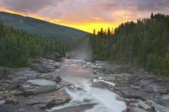 Fantastischer Sonnenuntergang auf einem Fluss der wild lebenden Tiere Lizenzfreies Stockbild