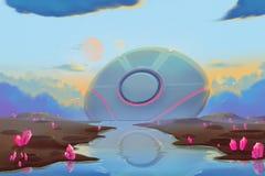 Fantastischer und exotischer Allen Planets Environment: Fallendes UFO lizenzfreie abbildung