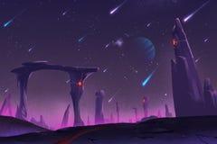 Fantastischer und exotischer Allen Planets Environment: Meteorschauer nachts stock abbildung