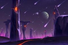 Fantastischer und exotischer Allen Planets Environment: Stonehenge lizenzfreie abbildung
