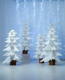 Fantastischer Wald von den Papierweihnachtsbäumen vertikal Stockfotografie