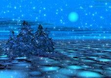 Fantastischer Wintermondschein. Stockfotografie