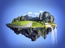 Fantastisk ö med dungen som svävar i luften Royaltyfri Fotografi