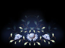Fantastisk blått blommar på en svart grund EPS10 Arkivbild