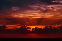 Fantastisk brännhet solnedgång Arkivfoton