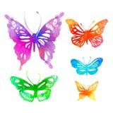 Fantastisk färgrik bakgrund med fjärilar, vattenfärger (vect Royaltyfria Bilder