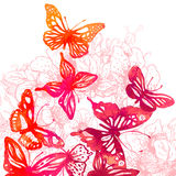 Fantastisk färgrik bakgrund med fjärilar, vattenfärger (vect Arkivbild