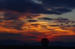 Fantastisk färgrik molnig solnedgångbakgrund Arkivfoton