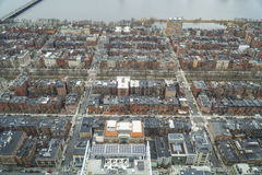 Fantastisk flyg- sikt över gatorna av Boston - BOSTON, MASSACHUSETTS - APRIL 3, 2017 Royaltyfri Foto