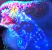 Fantastisk fractal som en abstrakt sprej av blått Arkivfoto