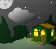 Fantastisk grön loge på natten royaltyfri illustrationer