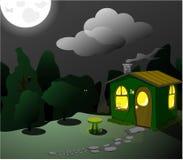 Fantastisk grön loge på natten vektor illustrationer