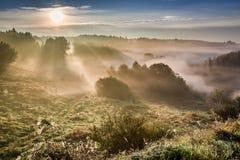 Fantastisk gryning på den dimmiga dalen i höst Royaltyfri Foto