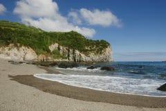 Fantastisk härlig havslandskapsikt av den Moinhos stranden Porto Formoso som kostas i den Azores ön av Portugal Royaltyfria Foton
