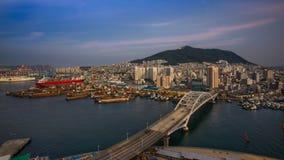 Fantastisk horisont av Busan, Korea Arkivbild