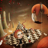 Fantastisk illustration Alice och flamingo Arkivbilder