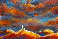 Fantastisk illustrationmålning Flickan och katten på en orange bergöverkant ser stjärnklar himmel, universum Konstverk för bok Royaltyfri Foto