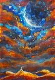 Fantastisk konstillustrationmålning Flickan och katten på en orange bergöverkant ser stjärnklar himmel, universum, stor blå plane Royaltyfria Foton