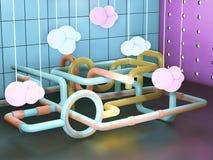 Fantastisk maskin med färgrika rör, idérikt fabriksbegrepp Illustration för produktutvecklingmekanism 3D Royaltyfri Foto