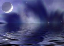 fantastisk moonreflexion stock illustrationer