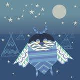 Fantastisk nattprydnaduggla Stock Illustrationer